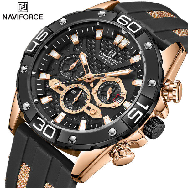 NAVIFORCE Watches for Men Military Waterproof Silicone Strap Sport Chronograph Quartz WristWatch Male Luxury Brand Date Clock Malaysia
