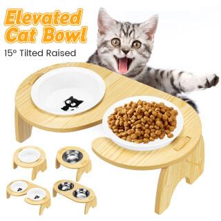Bàn Ăn Cho Mèo Đứng, Bát Ăn Cho Chó Mèo Thú Cưng Cho Mèo Và Chó Con Ba Kích Cỡ Không-Trượt, Với Ván Ép thumbnail