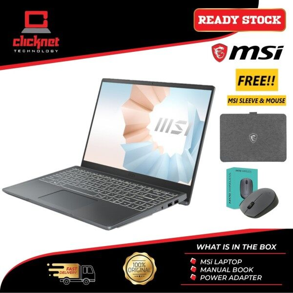 MSI MODERN 15 A4M-021 (R5-4600U, 8GB RAM, 512GB SSD, 15.6″ FHD, RADEON RX VEGA GRAPHICS, CARBON GRAY-W10)FREE BACKPACK Malaysia