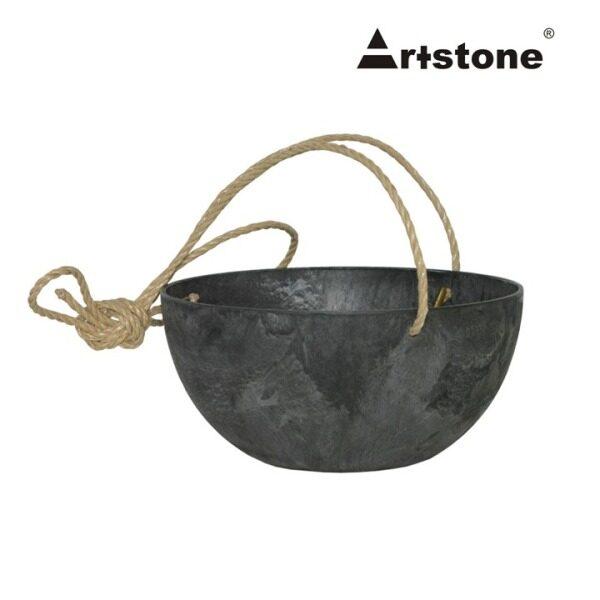 Artstone Decorative Flower Hanger Bowl / Pasu Bunga Gantung Hiasan / Indoor and Outdoor / Lightweight / Self-Watering Drainage System / Modern Marble Stone Look / Fiona Hanger D25 H12