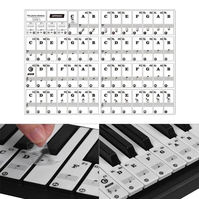 ammoon Piano Keyboard Stickers for 37/ 49/ 61/ 88 Key Keyboards Removable Transparent White Letters with Colorful Base Malaysia