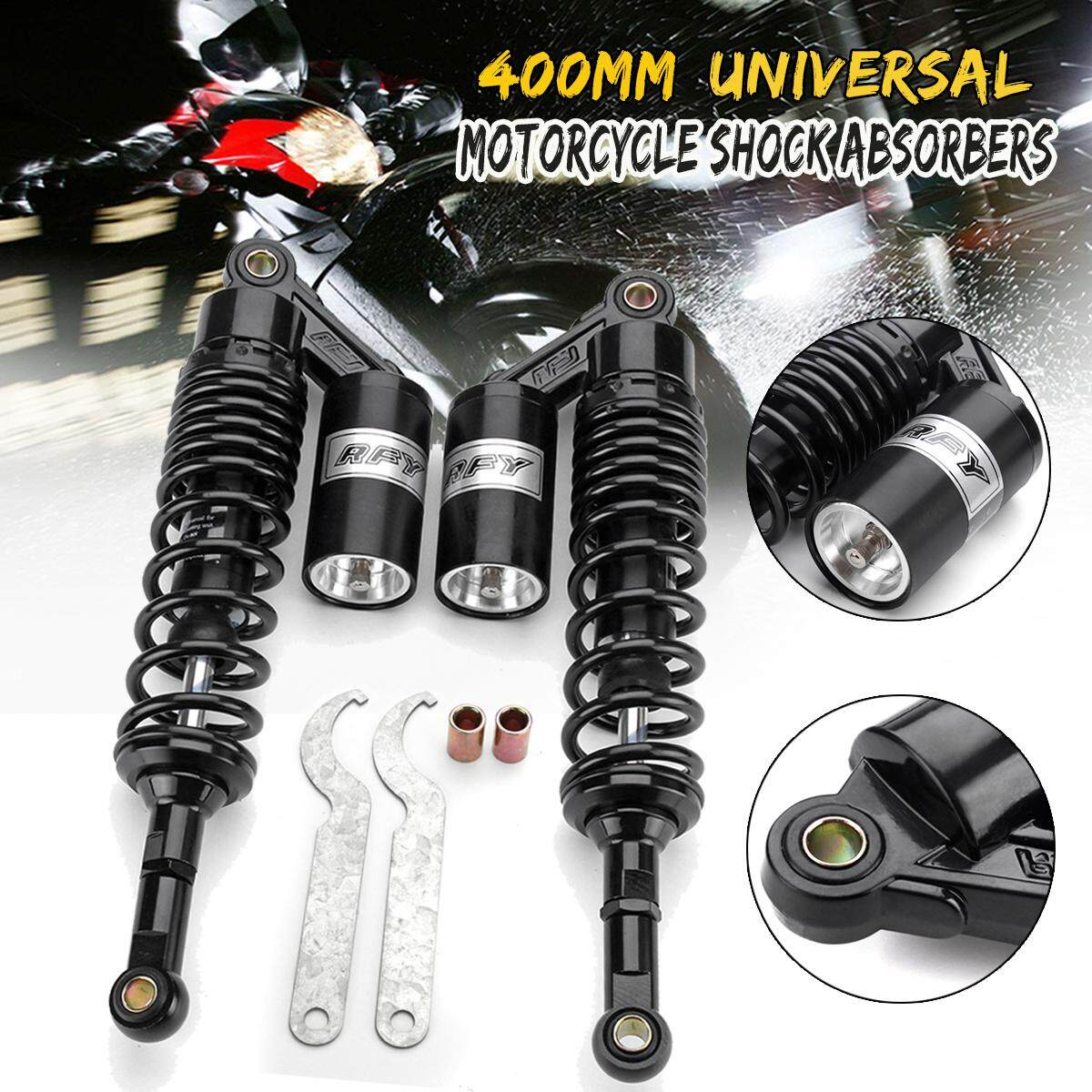 Pair 15.74 400mm Motorcycle Rear Air Shock Absorber Suspension Damper Round Black Silver By Freebang.