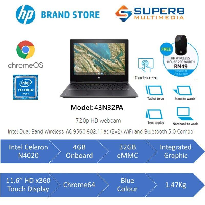 HP Chromebook x360 11 G3 43N32PA (Intel Celeron, 4GB, 32GB eMMC, ChromeOS) Malaysia