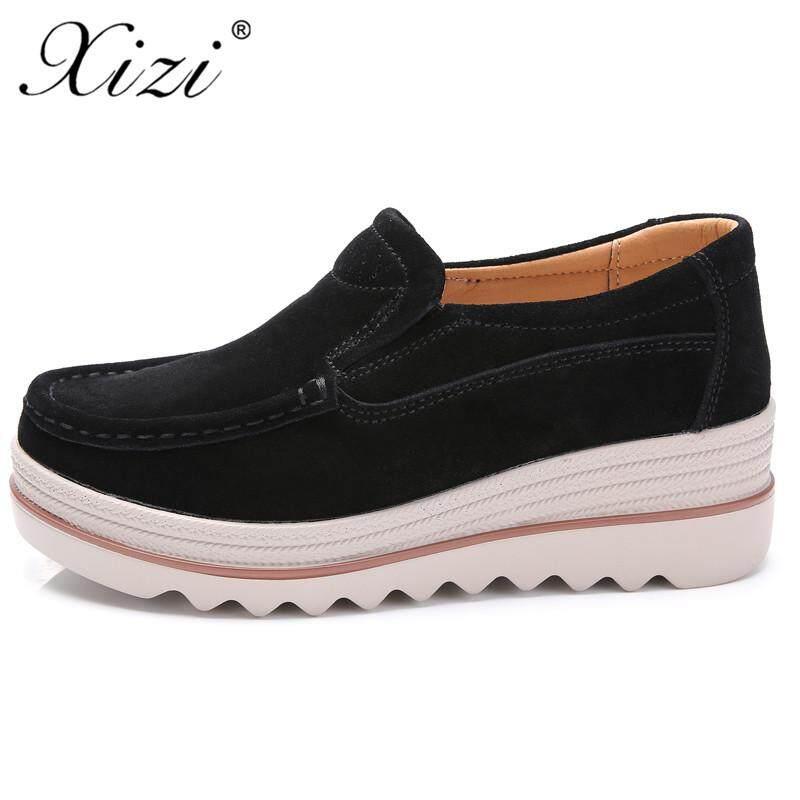 fa6c8bc19d12 XIZI 2018 Autumn Women Flats Shoes Platform Sneakers Shoes Leather Suede  Casual Shoes Slip on Flats