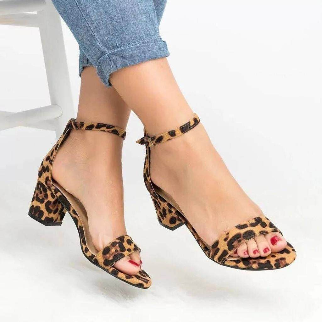 6b7d2f55653 sophiadeals Summer Sexy Women Leopard Print Ladies Ankle One Word Buckle  Thick Heel Sandals