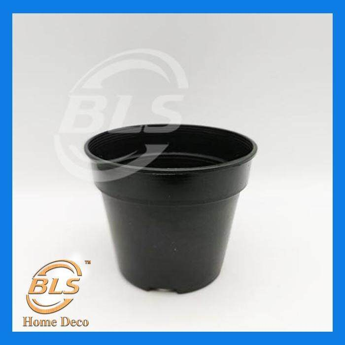DIAMTER 14 CM GAFRI L150 BLACK COLOR PLASTIC POT PASU BUNGA