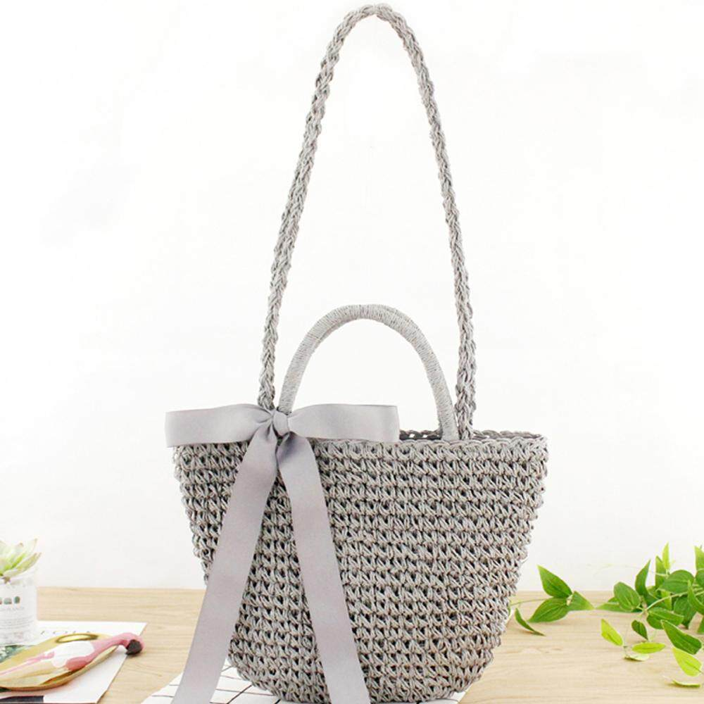 14d8f897b0d Ready stock Minimalist Artsy Vintage Mori Fashionable Bowknot Weave Bag  Vacationing Beach Summer Paper Strings Shoulder