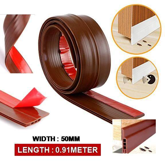 Door Block Seal Brown 50MM 3 Layers ( Length 91CM) Door Weather Draft Stopper Protect from Insect Reduce Noise and Pest