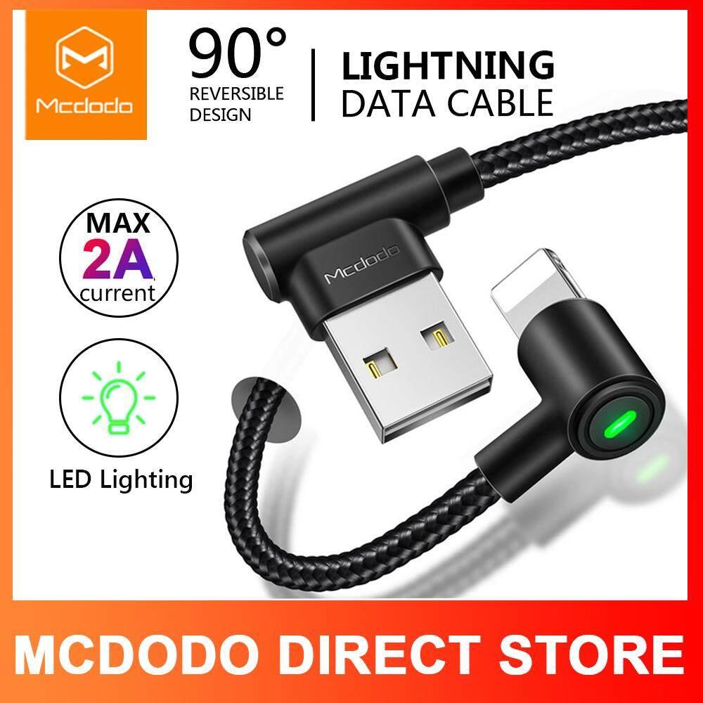 100% Asli Otentik MCDODO USB Kabel untuk iPhone Lightning Apple X Max XR 8 7 6 5 6 S Plus 2A Tinggi saat Ini Kabel Pengisian Cepat Ponsel Lampu LED Kabel Data Kabel Hitam 0.5 M/1.2 M/1.8 M