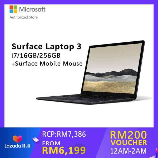 [BUNDLE] Microsoft Surface Laptop 3 13.5-inch - Black (i7/16GB/256GB) + Surface Mobile Mouse Malaysia