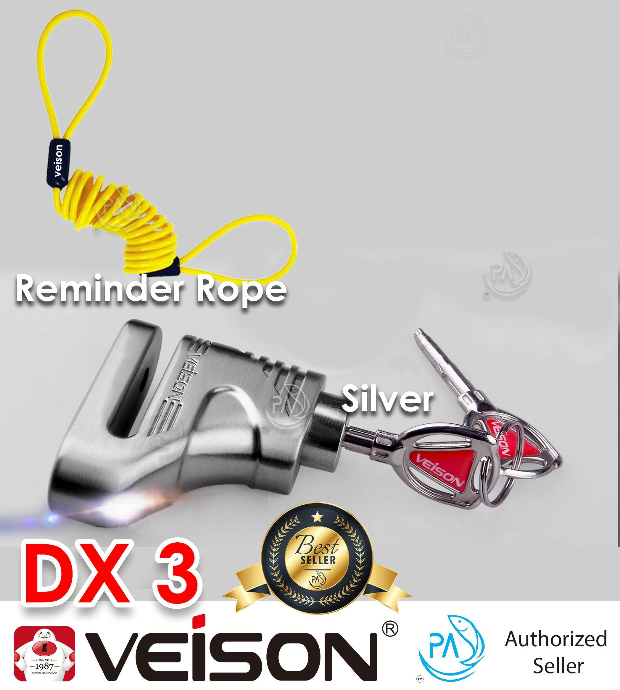 Taiwan Veison ( FULL SET ) PA DX3 and D301 100% Original Disc Lock for  Motorcycle / Motor Lock / Disc Lock / Veison Lock / Bike Lock with BEST  COMBO