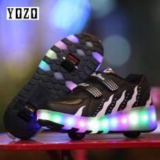 YOZO Người Lớn Trẻ Em Giày Trẻ Em Giày có Có ĐÈN LED Thoáng Khí Thời Trang Bé Trai & Bé Gái Heelies Giày Thể Thao Thông Thường Dành Cho Trẻ Em với Đôi Hai Bánh Xe