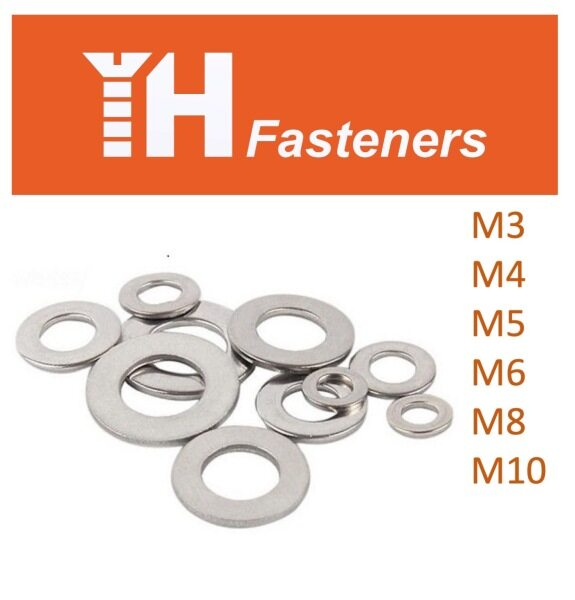 (10 pcs) M3 M4 M5 M6 M8 M10 Flat Washer DIN 125 A Stainless Steel AISI 304 (A2)