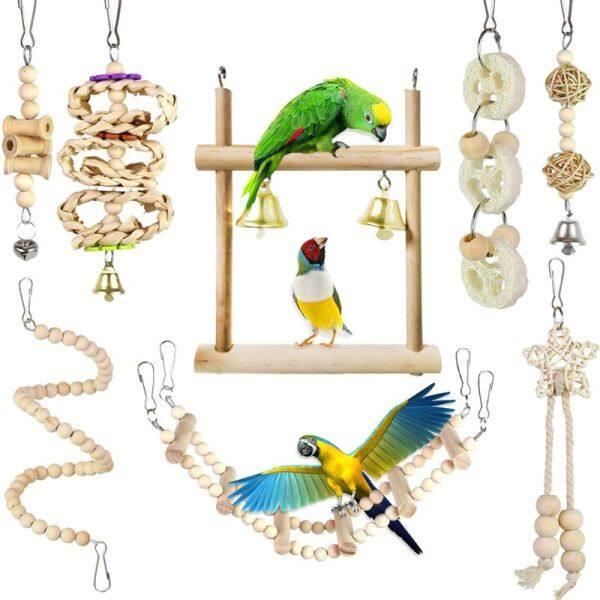 Cái/bộ 8 Món Đồ Chơi Vẹt Cho Chim Võng Đu Treo Bằng Gỗ, Thang Leo Núi Đồ Chơi Cây Đào, Parakeet Phụ Kiện Lồng Chim Vẹt C42