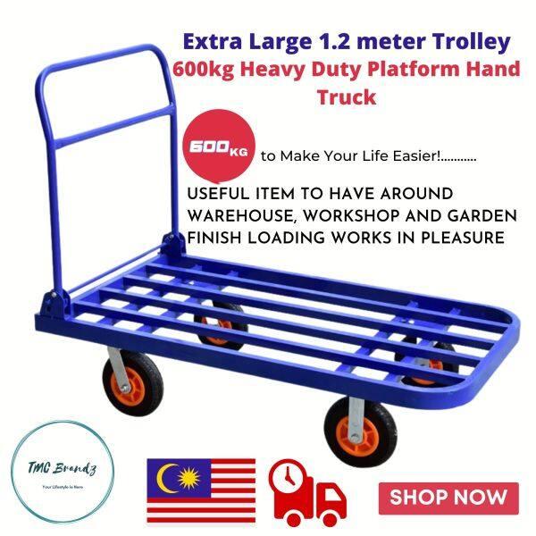 Extra Large 1.2 meter Trolley 600KG Heavy Duty Light Weight Extra Long Iron Foldable Hand Platform Truck Dolly Troli重型推车