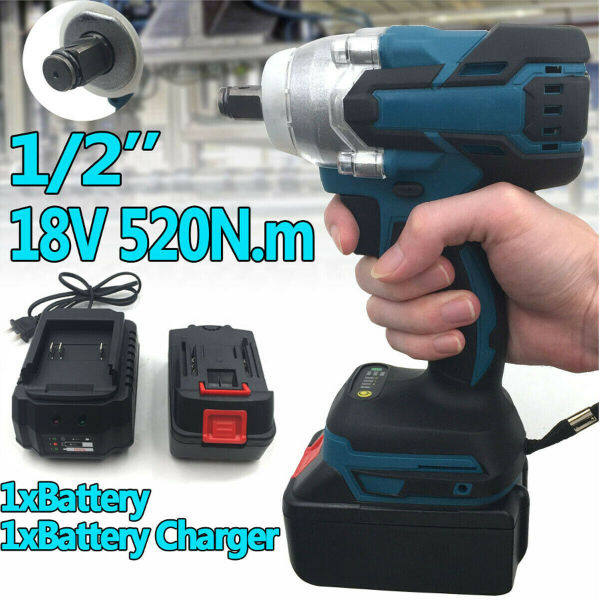 18V 1/2  Square 520Nm Torque Brushless Cordless Electric Impact Wrench Driver +BBaatterry +Charger