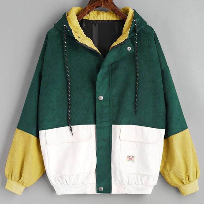 4c9bca615 Outerwear & Coats Jackets Long Sleeve Corduroy Patchwork Oversize Zipper  Jacket Windbreaker coats and jackets women 2018