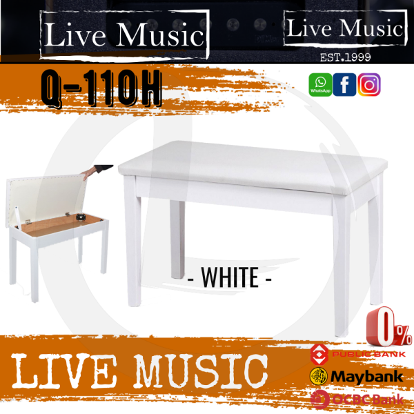 Live Music LMC Q-110H Piano Bench Leather Padded Double Seater With Storage Box - White (Q110H) Malaysia