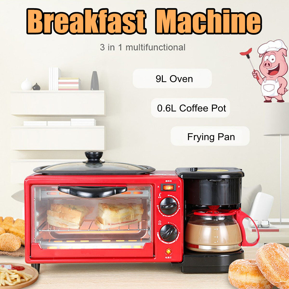 3-In-1 Multifunction Breakfast Machine Coffee Pot Frying Pan Oven Bread Baking Maker Bread Toaster Fried Egg Coffee Cooker 1050W