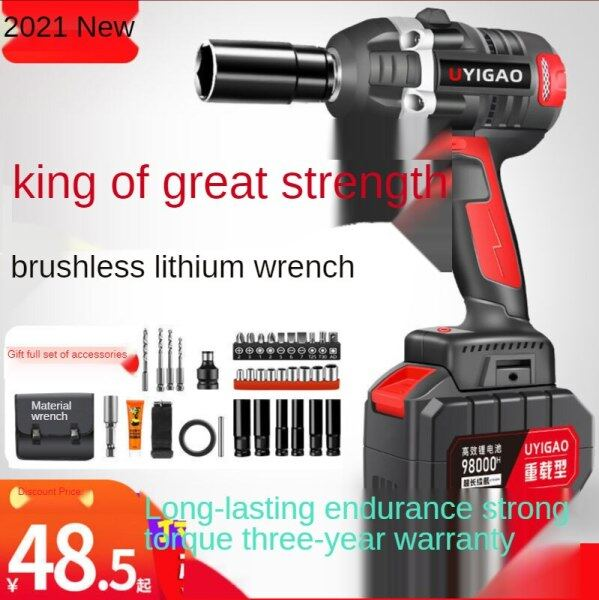 ❤ READY STOCK ❤【Free Gift】Brushless Electric Wrench Lithium Batterys Rechargeable Wrench High Torque Impact Car Corner Hand Frame Work Woodworking Sleeve Jackhammer