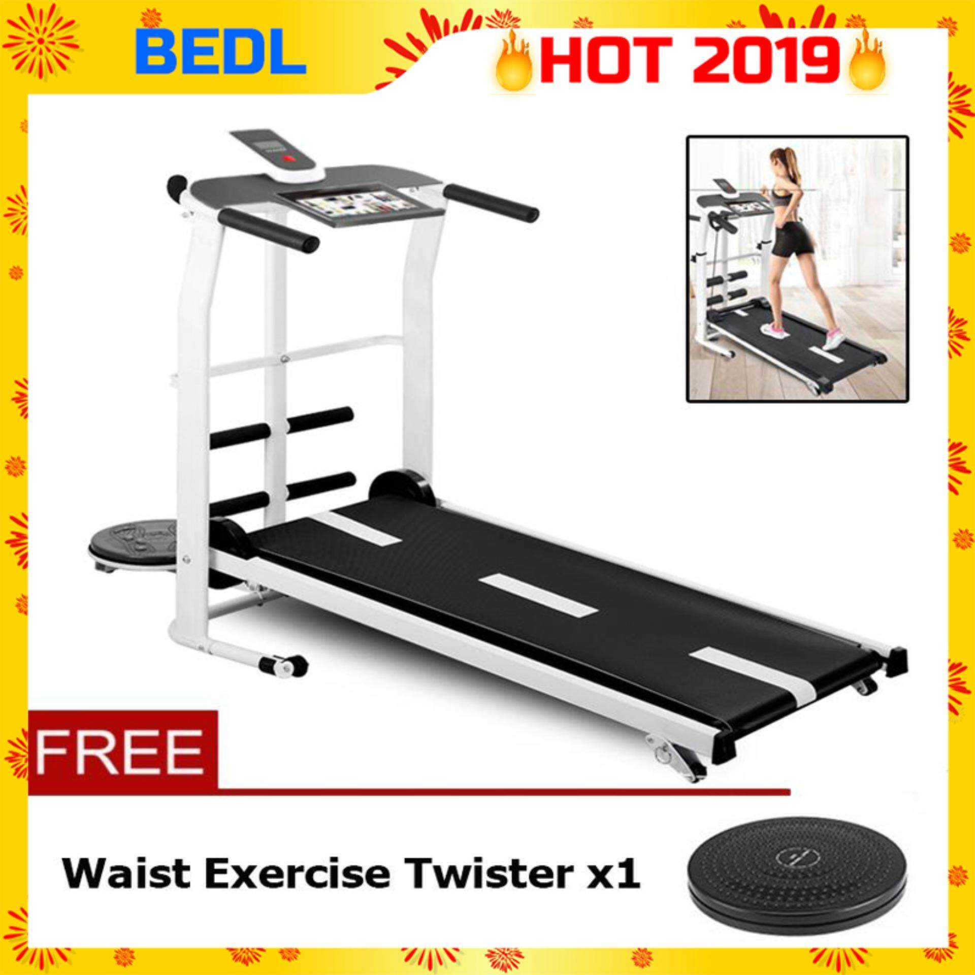 Bedl (bd250) Multi-Function Home Exercise Fitness Gym Mini Foldable Running Manual Treadmill With Sit Up Stand By Biosys.