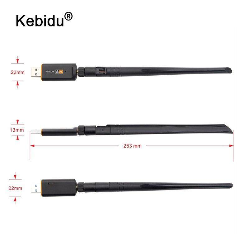 (Black )kebidu 1200Mbps Super Speed USB 3.0 Wireless Wifi Adapter 2.4Ghz/5Ghz Dual Band Network Card RTL8812 With 5dBi Antenna For PC YFD Store