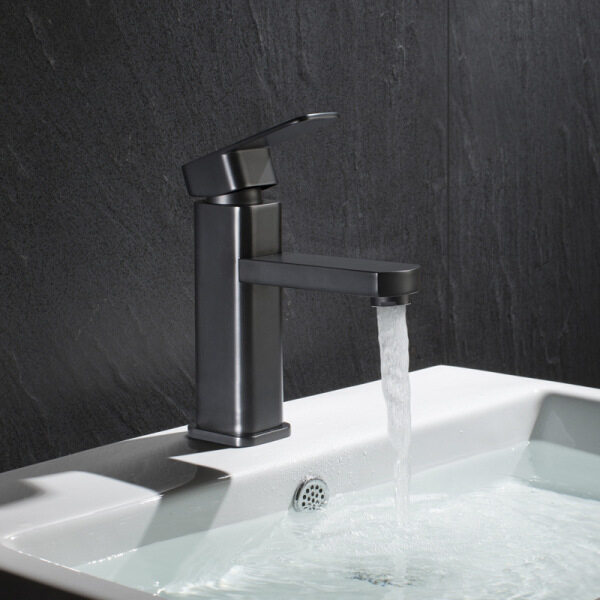 Stainless Steel Black Bathroom Sink Faucet Washbasin Tap with Hot and Cold Mixed Water Bathroom Square Single Hole Basin Faucet