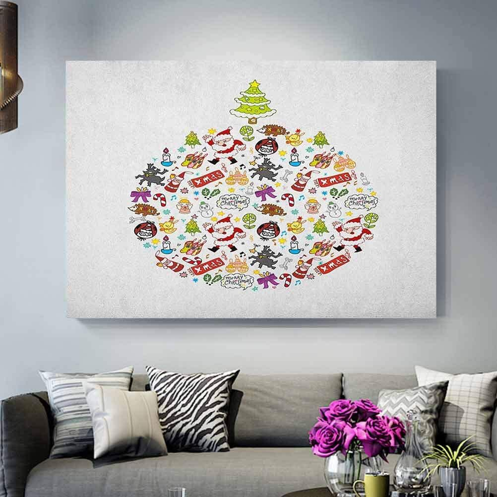 Kids Christmas Canvas Painting Picture Posters Merry Xmas Wish And Circle Of Happy Cute New Year Icons Under Pine Tree Gifts For Her Multicolor Gift Lazada Ph