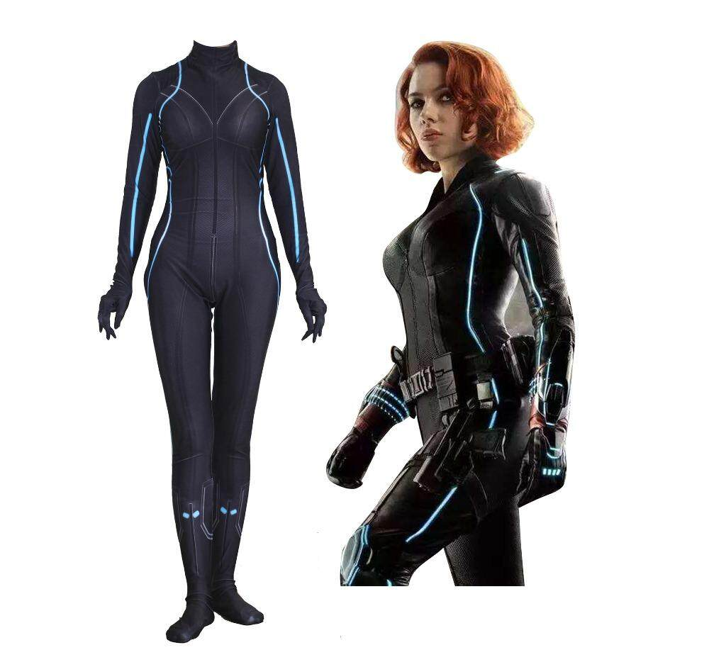 3D Print Black Widow Superhero Costume Hot Sale Zentai Full Body Suit Cosplay Costume for Halloween