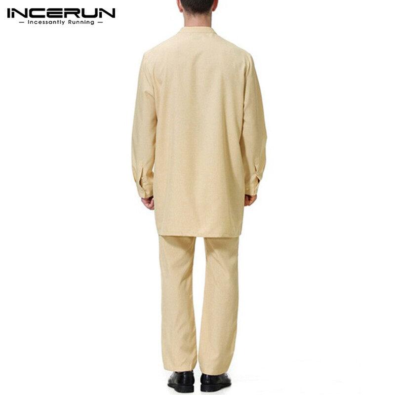 (Clearance Sale) Perfectly อย่างINCERUNมุสลิมเสื้อผ้าอิสลามซาอุดิอาหรับบุรุษThobeเสื้อ + ชุดกางเกงดูไบชุดลำลอง