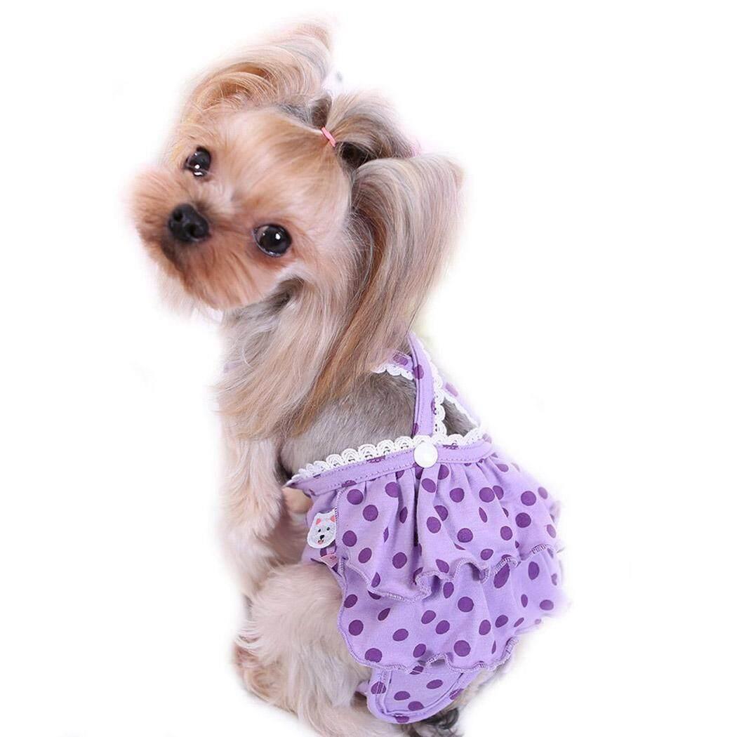 Chó Tã Có Thể Giặt Có Thể Tái Sử Dụng Vệ Sinh Pantie Đầm Chó Bông Tã với Suspender cho Nữ Chó, M - 4