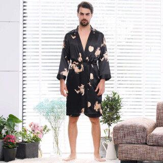 Unisex Giả Lụa Áo Ngủ Áo Cardigan Dài Tay Mỏng Tất Cả Các Mùa Hàn Quốc Đồ Lót Bộ Quần Lót Nội Y Gợi Cảm Cái Yếm Ngủ Vải Polyester Màu Đen Bán Ngoại Cỡ thumbnail