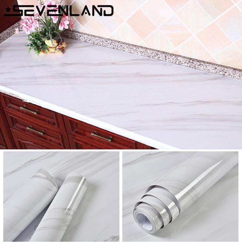 3Mx60cm Marble Pattern Kitchen Cupboard Cabinet Self adhesive Wallpaper Waterproof PVC Furniture Renovation-White