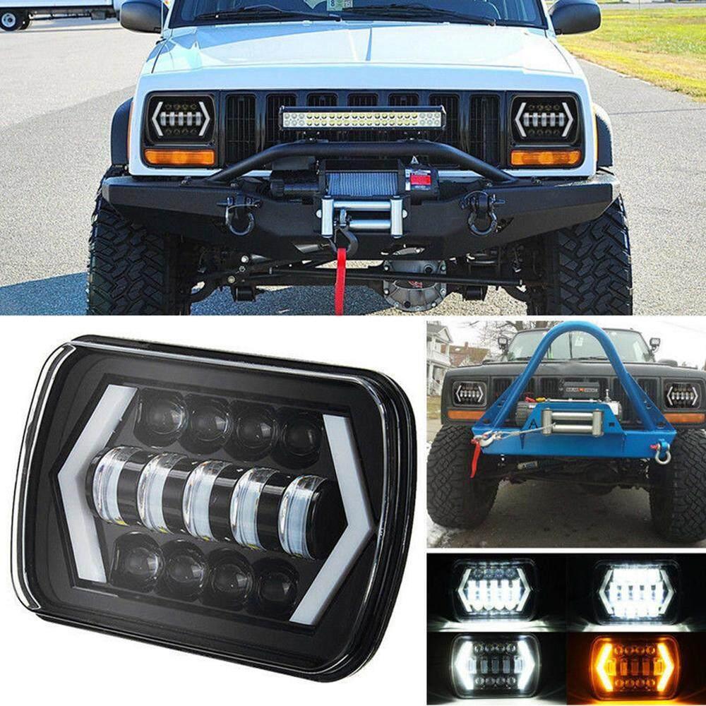 moyaa 55W 7x6 5X7 High Quality LED Projector Headlight Bulb Hi-Lo Beam Halo for Jeep Cherokee XJ Car Light Car Accessories