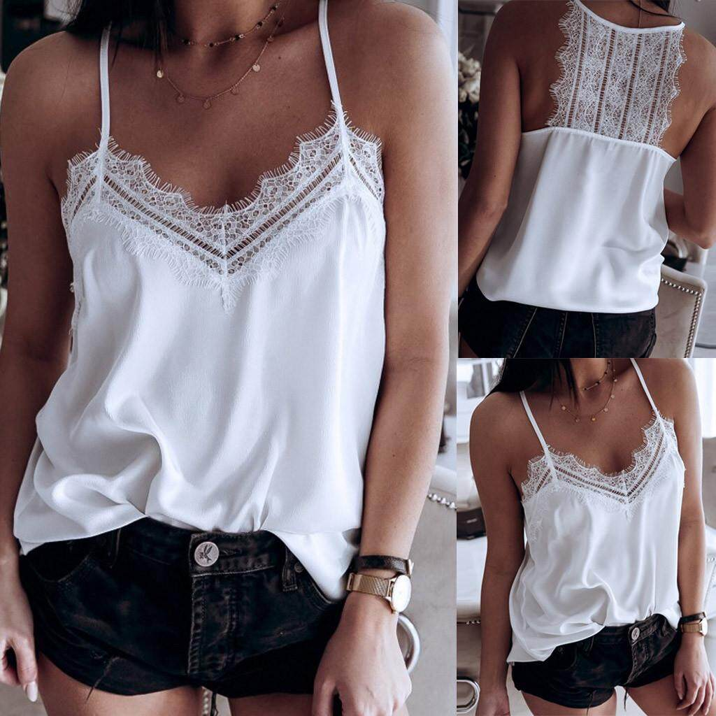 5f110e5c2ec Sexy Fashion Women Solid V-Neck Sleeveless Lace Camis T-Shirt Tops Backless  Vest(IVERSOOON)FREE