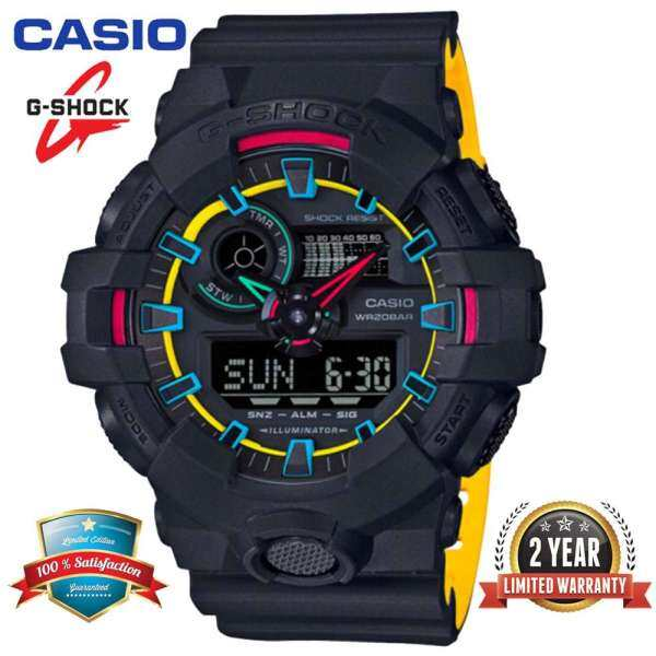 Original G Shock GA700 Men Sport Watch Dual Time Display 200M Water Resistant Shockproof and Waterproof World Time White LED Auto Light Man Sports Wrist Watches with 2 Year Warranty GA-700SE-1A9 Black Yellow (Ready Stock) Malaysia