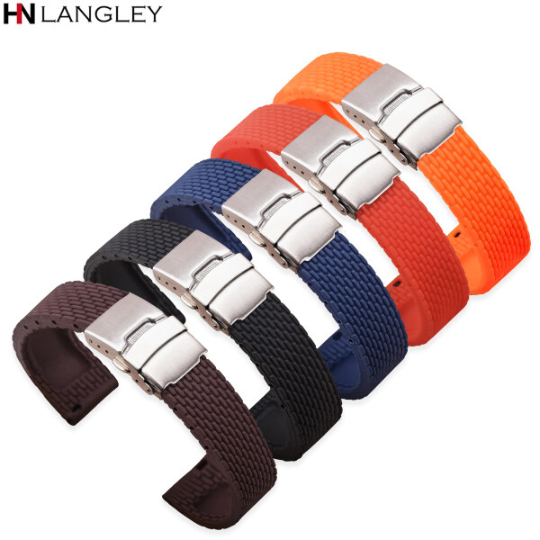LANGLEY  Watches  Accessories 18mm 20mm 22mm 24mm Silicone Strap Folding Buckle for Samsung Galaxy Watch Gear S2 S3 Quick Release Rubber Bracelet Strap Band Malaysia