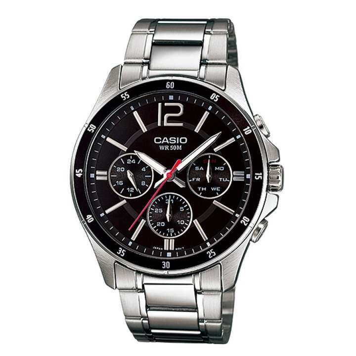 Casio Enticer Analog Stainless Steel Watch (Silver Black) MTP-1374D-1AV