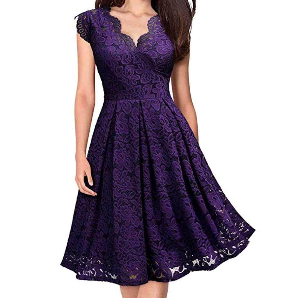 596d312ea600 Guo Women V-Neck Off Shoulder Lace Formal Evening Party Dress Sleeveless  Dress
