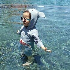 Đồ Bơi Cá Mập Hoạt Hình Cho Trẻ Em 1-7T, Bộ Đồ Bơi Trẻ Em Đồ Bơi Một Mảnh Dài Tay Cho Bé Trai