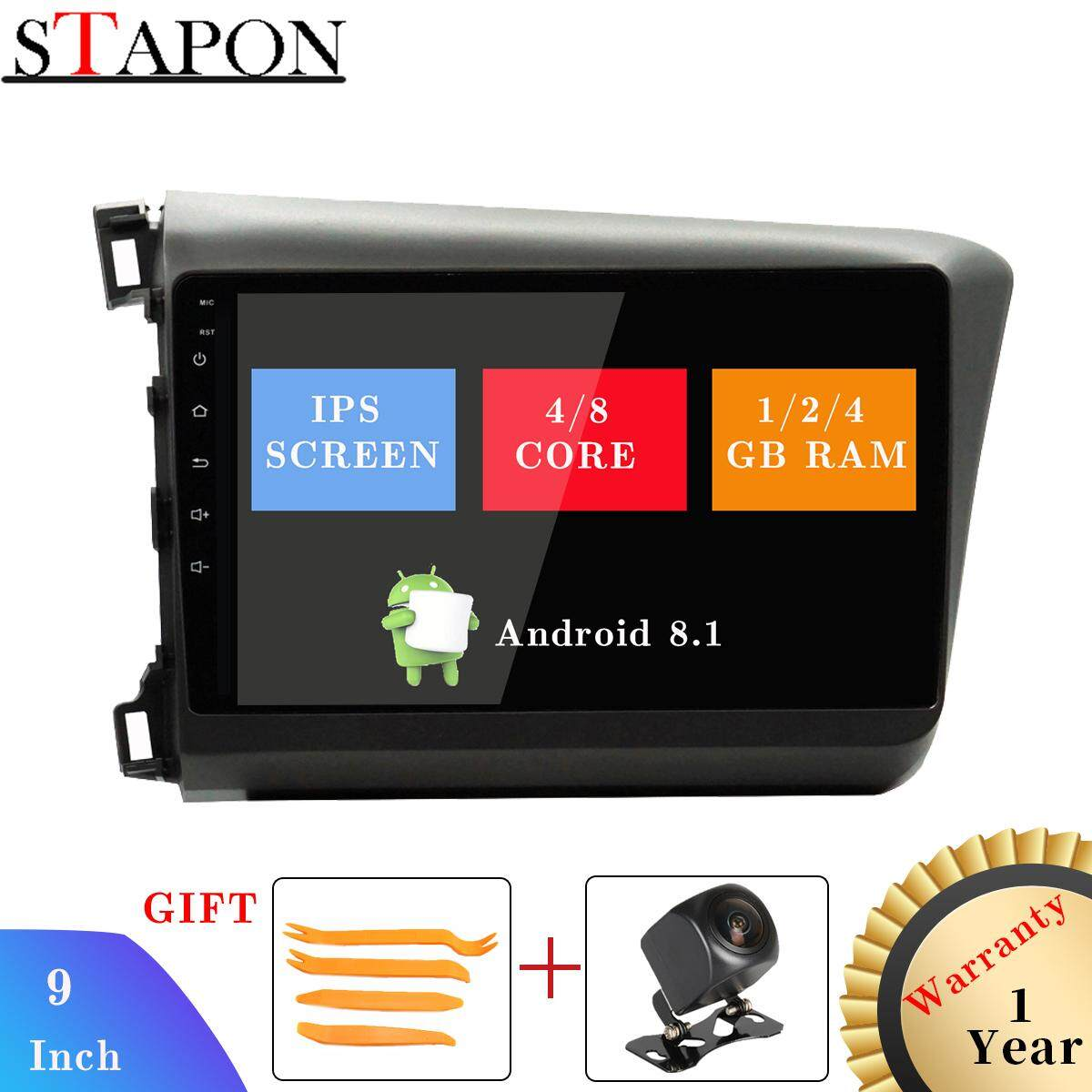 STAPON 9inch 2 5D IPS for honda civic 2012-2015 Android 8 1 4G RAM car  stereo navigation head unit plug and play multimedia player with WiFi  Bluetooth