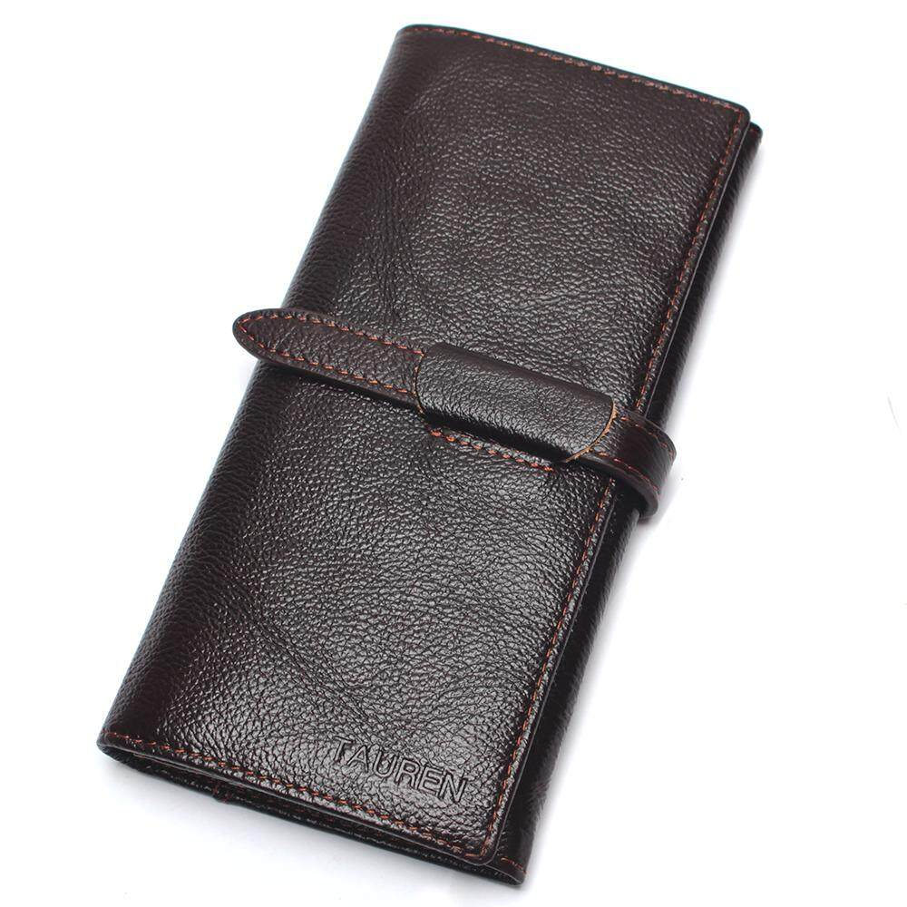 Coffee Luxury Brand 100% Genuine Cowhide Leather High Quality Men Long Wallet Coin Purse Vintage Designer Male Carteira Wallets