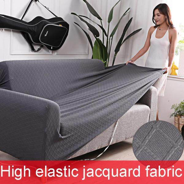 【High-elastic Sofa Slipcover】1/2/3/4 Seater Solid Elastic Jacquard Fabric Sofa Cover for Living Room Stretch Furniture Cover Universal Couch Cover Case Sofa Slipcover