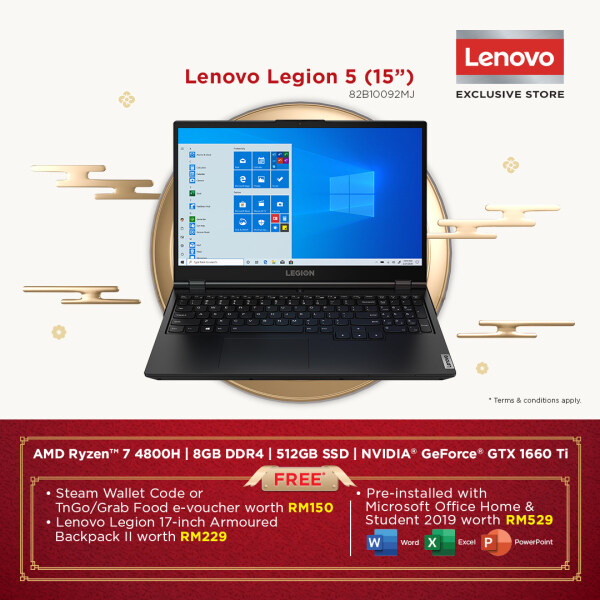 Lenovo Legion 5 15IMH05H 82B10092MJ Gaming Laptop | Ryzen 7 4800H | 8GB 512GB | 15.6 | GTX1660ti | W10 | MS OFFICE+BAG Malaysia