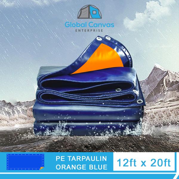 12ft x 20ft PREMIUM Waterproof Tarpaulin Biru Oren / Orange Blue Tarpaulin READY STOCK