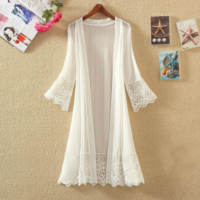 1b3710f31cb 2019 Summer new Style Mid-length Perspective Lace Cardigan Loose Sunscreen  Shawl Coat