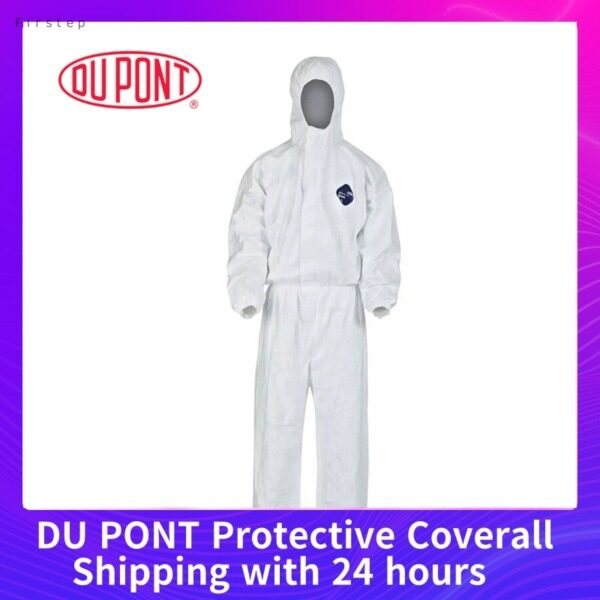 [Shipping Within 24h]  DU PONT Protective Coverall Safety Clothing Anti Static Hooded Suit Anti Particles/Chemical Splash XL/XXL (The size  Universal)