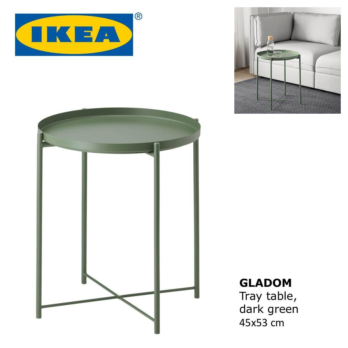 Ikea Gladom Living Room Side Tray Coffee Table Dark Green
