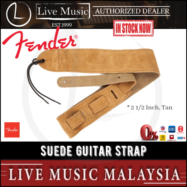 Fender 2 1/2 inch Strap Suede Electric Guitar Strap - Tan Malaysia