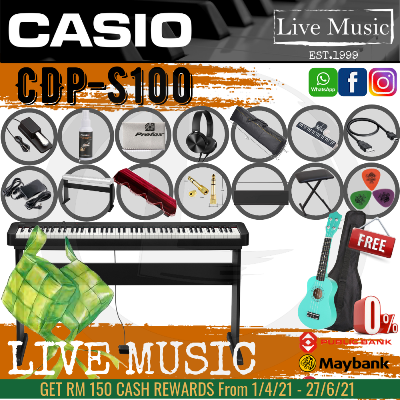Casio CDP-S100 88-key Digital Piano *Raya Sales* with Piano Stand, Keyboard Bench, Sustain Pedal (CDPS100/CDP S100) Malaysia